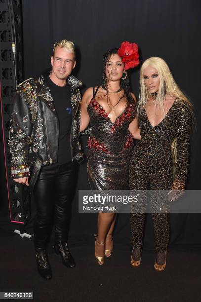 David Blond and Phillipe Blond pose backstage at the Blonds fashion show during New York Fashion Week The Shows at Gallery 1 Skylight Clarkson Sq on...