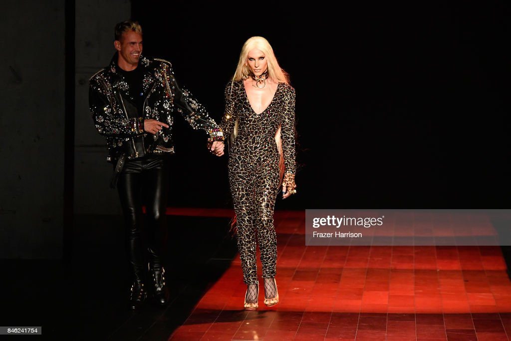 David Blond and Phillippe Blond walk the runway for The Blonds fashion show during New York Fashion Week: The Shows at Gallery 1, Skylight Clarkson Sq on September 12, 2017 in New York City.