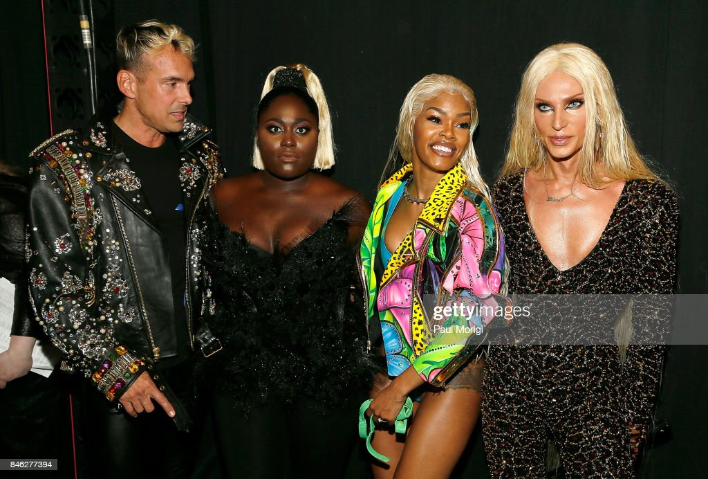 David Blond, Danielle Brooks, Teyana Taylor and Phillipe Blond pose backstage at The Blonds fashion show during New York Fashion Week: The Shows at Gallery 1, Skylight Clarkson Sq on September 12, 2017 in New York City.
