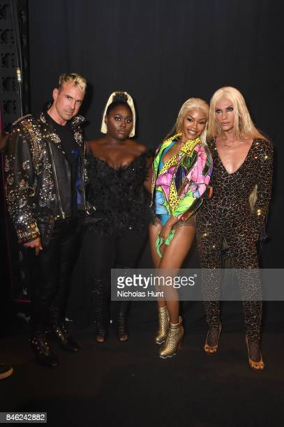 David Blond Danielle Brooks Teyana Taylor and Phillipe Blond poses backstage for The Blonds fashion show during New York Fashion Week The Shows at...