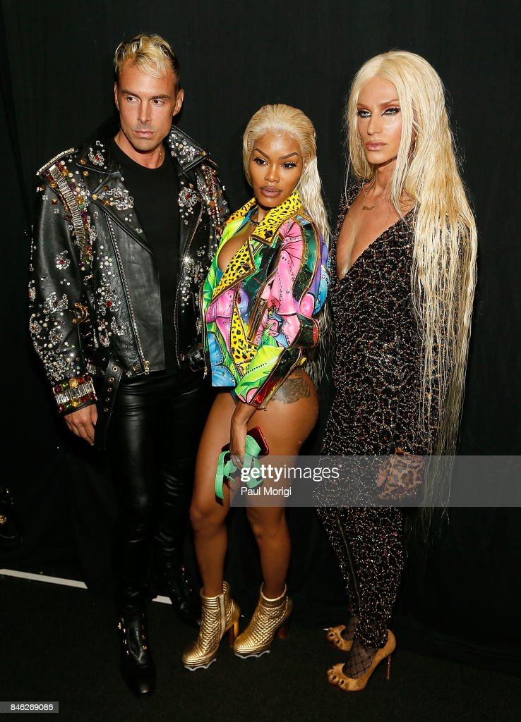 David Blond, Teyana Taylor and Phillipe Blond pose backstage at The Blonds fashion show during New York Fashion Week: The Shows at Gallery 1, Skylight Clarkson Sq on September 12, 2017 in New York City.