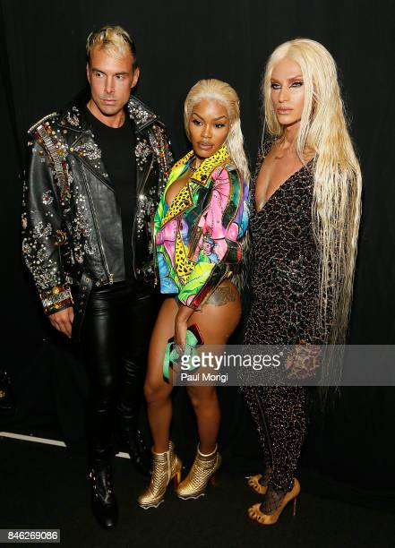 David Blond Teyana Taylor and Phillipe Blond pose backstage at The Blonds fashion show during New York Fashion Week The Shows at Gallery 1 Skylight...