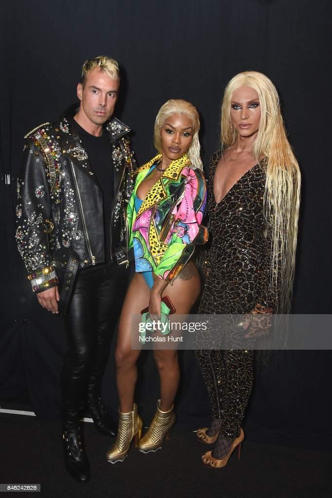 David Blond, Teyana Taylor and Phillipe Blond pose backstage for The Blonds fashion show during New York Fashion Week: The Shows at Gallery 1, Skylight Clarkson Sq on September 12, 2017 in New York City.