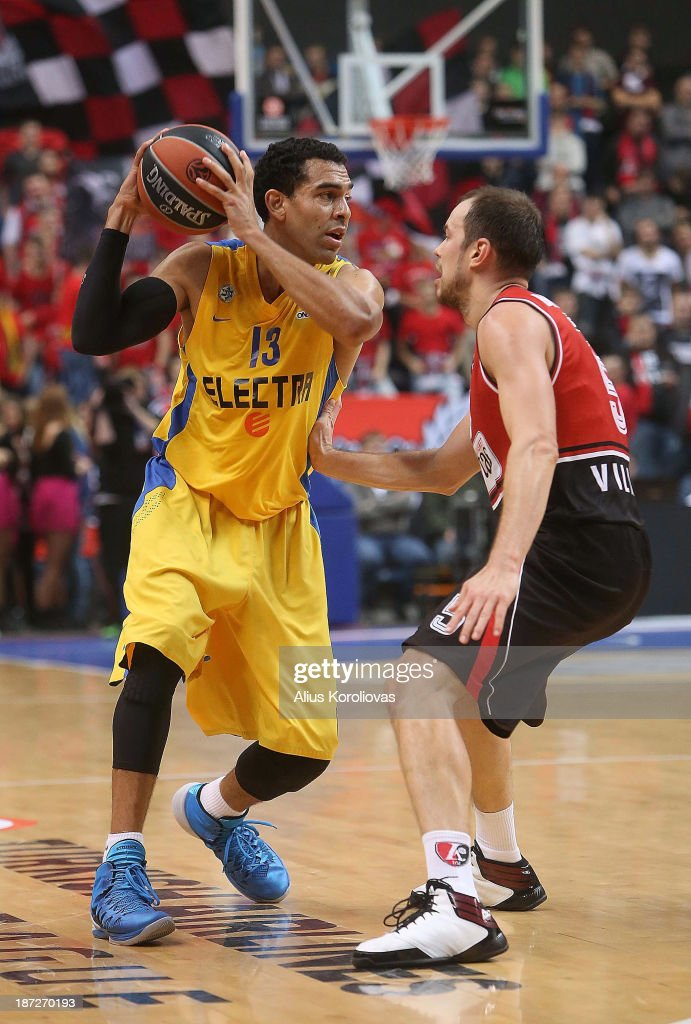 David Blu, #13 of Maccabi Electra Tel Aviv in action during the 2013-2014 Turkish Airlines Euroleague Regular Season Date 4 game between Lietuvos Rytas Vilnius v Maccabi Electra Tel Aviv at Siemens Arena on November 7, 2013 in Vilnius, Lithuania.