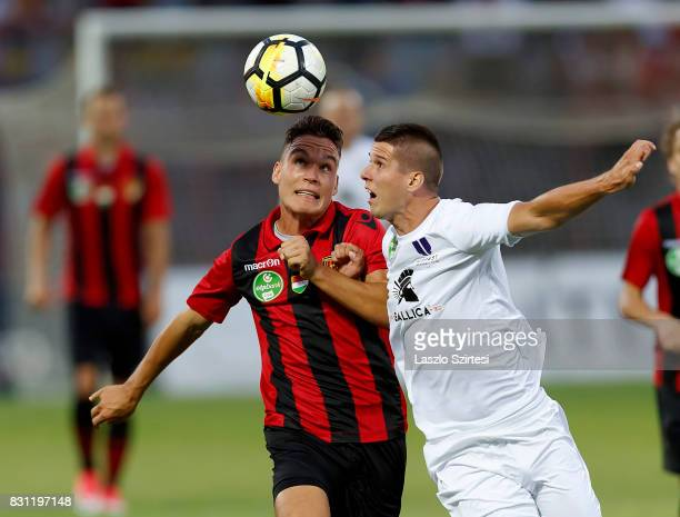 David Bobal of Budapest Honved competes for the ball with Patrik Tischler of Ujpest FC during the Hungarian OTP Bank Liga match between Budapest...
