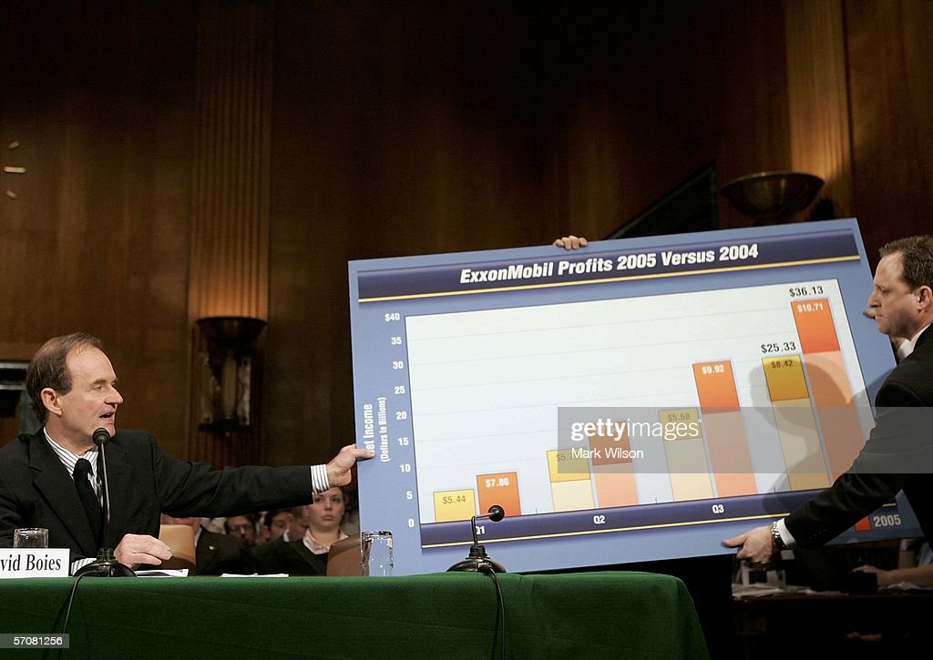 David Boies (L) Chairman of Boies, Schiller and Flexner LLP shows a chart related to Exxon Mobil profits during Senate Judiciary Committee hearing on Capitol Hill March 14, 2006 in Washington, DC. The committee is listening to testimony on consolidation in the oil and gas Industry and rising fuel prices.