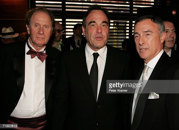 David Bonderman Chair of Texas Pacific producer Oliver Stone and Harry E Sloan Chairman and CEO of MGM attend the MGM Platoon Party at the Majestic...