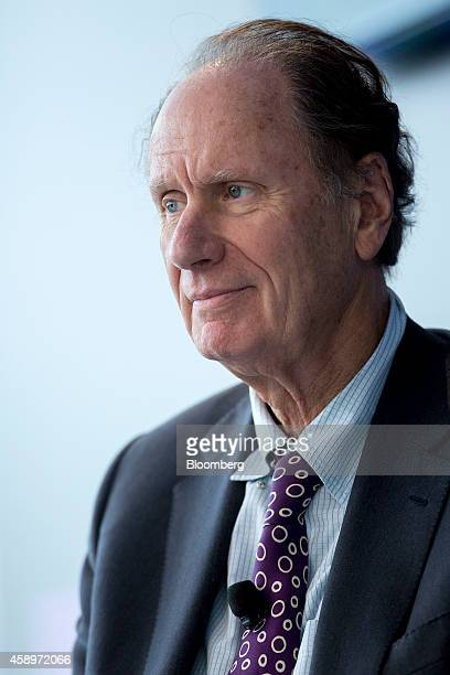 David Bonderman founding partner of TPG Capital listens during a panel discussion at the Bloomberg Year Ahead 2015 conference in Washington DC US on...
