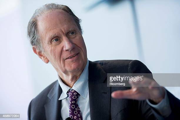 David Bonderman founding partner of TPG Capital speaks during a panel discussion at the Bloomberg Year Ahead 2015 conference in Washington DC US on...