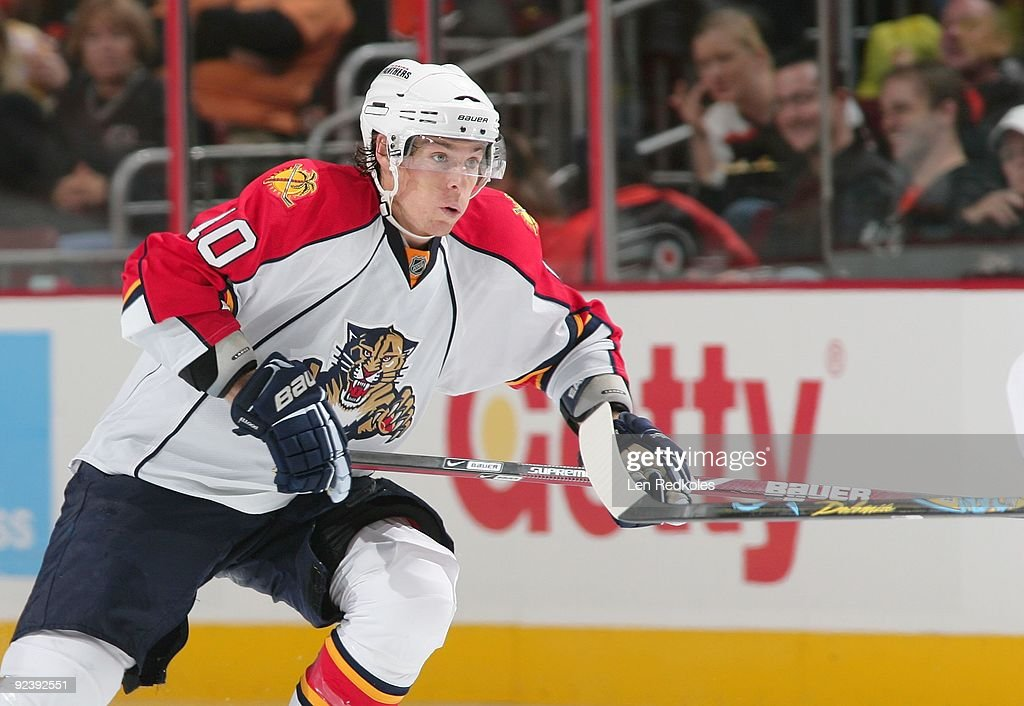 David Booth of the Florida Panthers skates against the Philadelphia Flyers on October 24 2009 at the Wachovia Center in Philadelphia Pennsylvania