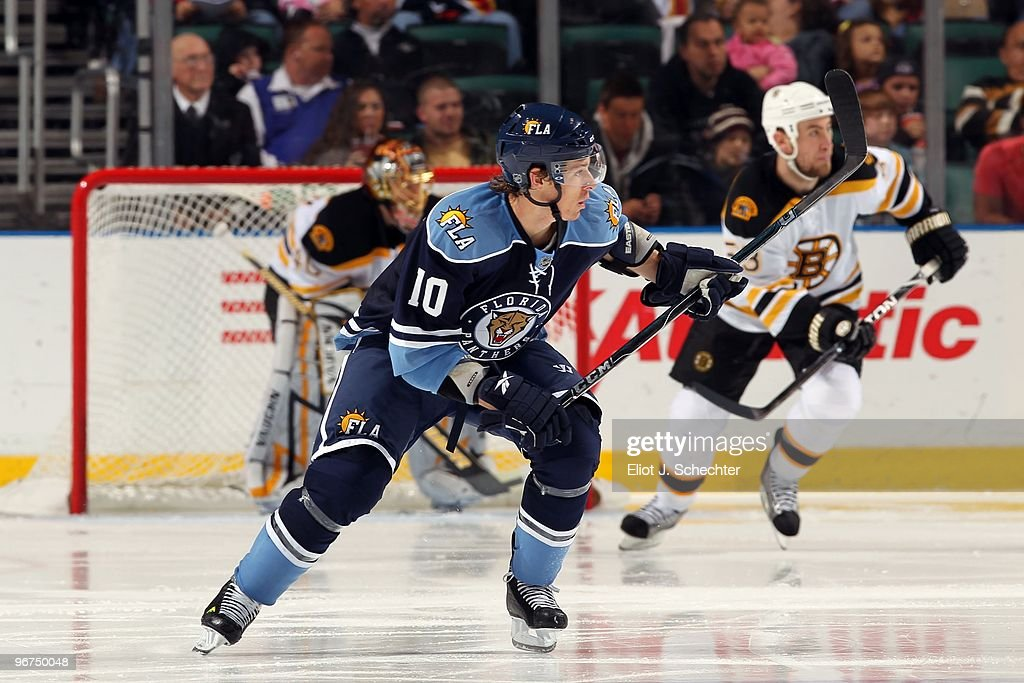 David Booth of the Florida Panthers skates the ice against the Boston Bruins at the BankAtlantic Center on February 13 2010 in Sunrise Florida