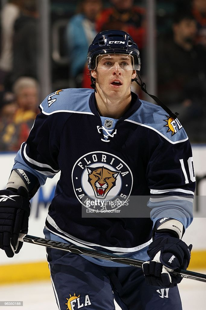 David Booth of the Florida Panthers skates the ice prior to the start of the game against the New York Islanders at the BankAtlantic Center on...