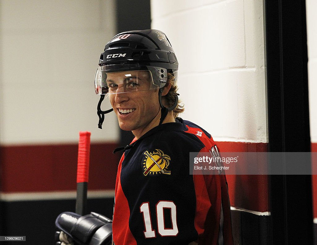 David Booth of the Florida Panthers stands outside the dressing room prior to the start of the game against the Buffalo Sabres at the BankAtlantic...