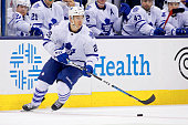 David Booth of the Toronto Maple Leafs controls the puck during the game against the Columbus Blue Jackets at Nationwide Arena on April 8 2015 in...