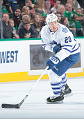 David Booth of the Toronto Maple Leafs handles the puck against the Dallas Stars at the American Airlines Center on December 23 2014 in Dallas Texas