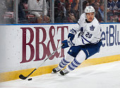 David Booth of the Toronto Maple Leafs skates with the puck against the Florida Panthers at the BBT Center on December 28 2014 in Sunrise Florida The...