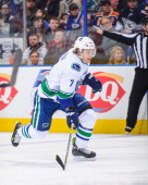 David Booth of the Vancouver Canucks skates against the Edmonton Oilers during an NHL game at Rexall Place on January 21 2014 in Edmonton Alberta...