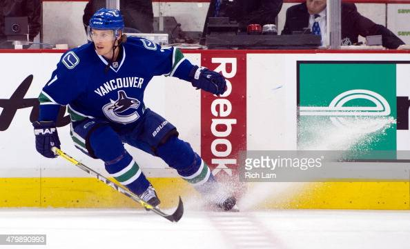 David Booth of the Vancouver Canucks skates during the pregme warmup prior to NHL action against the Calgary Flames on March 08 2014 at Rogers Arena...