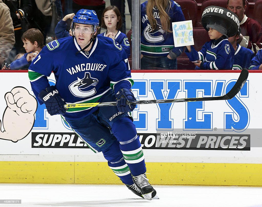 David Booth of the Vancouver Canucks skates up ice during their NHL game against the Dallas Stars at Rogers Arena on November 17 2013 in Vancouver...