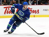 David Booth of the Vancouver Canucks skates up ice during their NHL game against the San Jose Sharks at Rogers Arena on November 14 2013 in Vancouver...