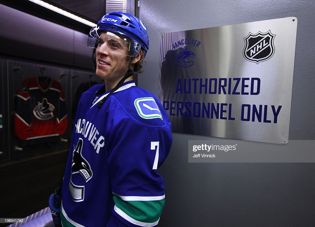 David Booth of the Vancouver Canucks walks out of the Canucks dressing room during their NHL game against the Edmonton Oilers at Rogers Arena January...