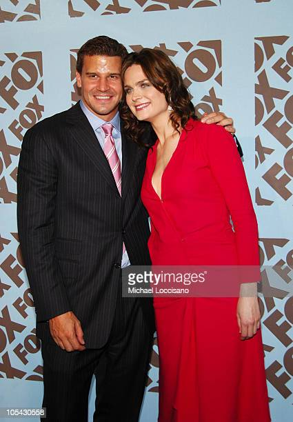 David Boreanaz and Emily Deschanel during 2005/2006 FOX Prime Time UpFront Arrivals in New York City New York United States