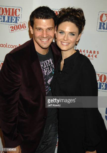 David Boreanaz and Emily Deschanel during HBO AEG Live's 'The Comedy Festival' Comic Relief 2006 Red Carpet at Caesars Palace in Las Vegas Nevada...