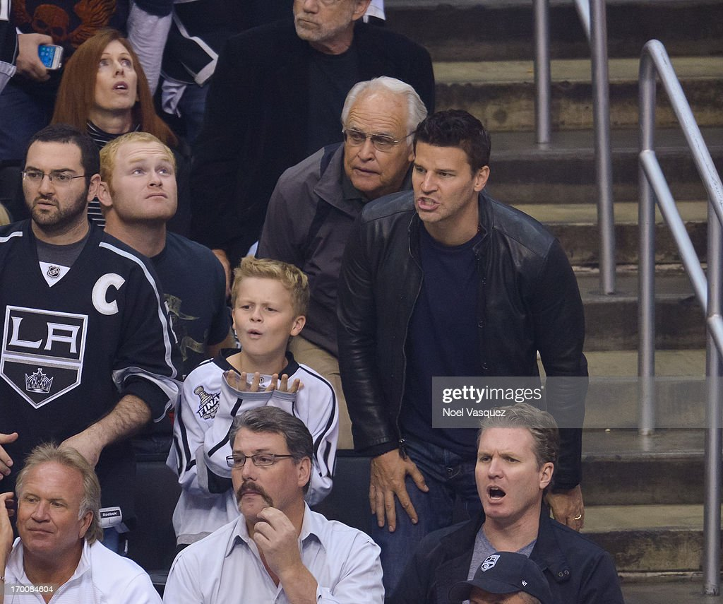 <a gi-track='captionPersonalityLinkClicked' href=/galleries/search?phrase=David+Boreanaz&family=editorial&specificpeople=214055 ng-click='$event.stopPropagation()'>David Boreanaz</a> (R) and his son Jaden Boreanaz attend an NHL playoff game between the Chicago Blackhawks and the Los Angeles Kings at Staples Center on June 6, 2013 in Los Angeles, California.