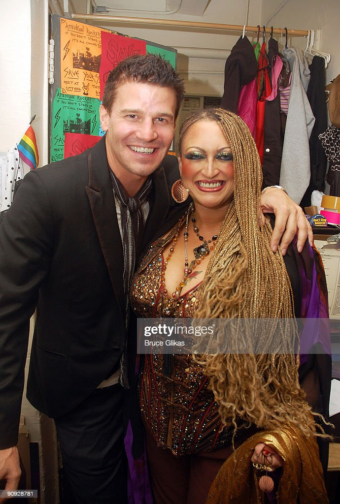 David Boreanaz (L) and Michele Mais pose backstage at the hit rock musical 'Rock of Ages' on Broadway at The Brooks Atkinson Theater on September 17, 2009 in New York, New York.