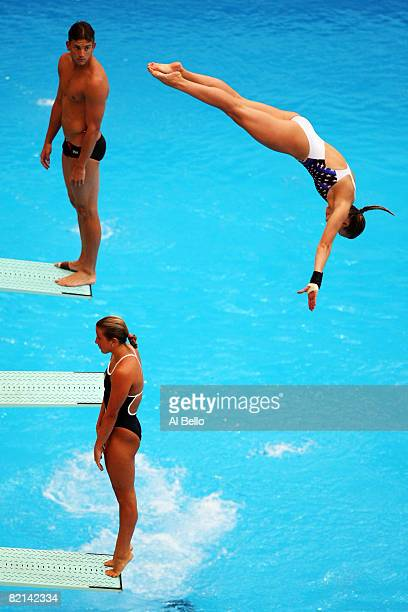 David Boudia of United States of America watches fellow divers practice in the National Aquatics Center ahead of the Beijing 2008 Olympic Games on...