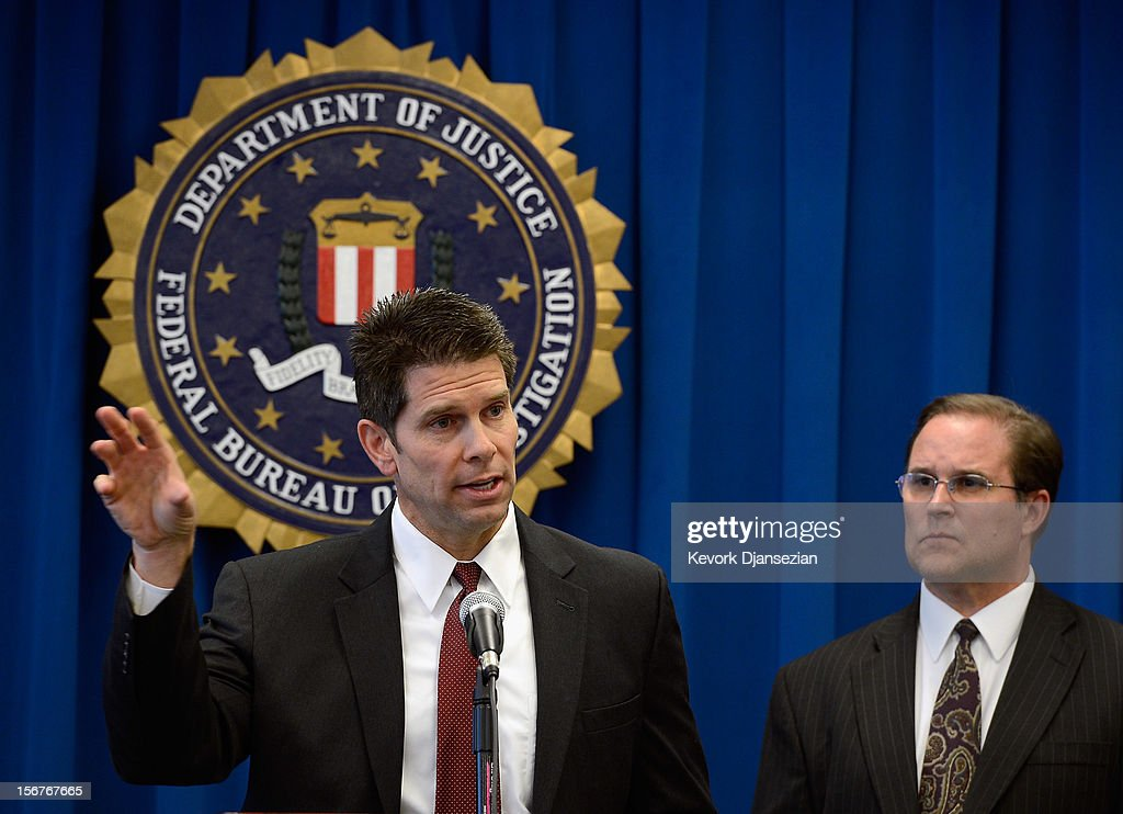 David Bowdich, (L) special agent in charge of Counterterrorism Division at Federal Bureau of the Investigation Los Angeles field office, speaks during a news conference to announce the arrest of four people from Southern California on terrorism charges as Bill Lewis, assistant director in charge of FBI Los Angeles field office, looks on November 20, 2012 in Los Angeles, California. The four men, Sohiel Omar Kabir, Ralph Deleon, Miguel Alejandro Santana Vidriales and Arifeen David Gojali were charged for their roles in a plot to provide material support to terrorists by making arrangements to join Al-Qaeda and the Taliban in Afghanistan in order to kill, among others, American targets in foreign country.