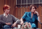 David Bowie and his wife Angela Bowie are interviewed on 'Good Morning America' by Rona Barrett in February 1976 in Los Angeles California