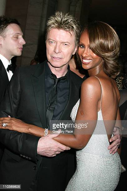 David Bowie and Iman during 2005 CFDA Fashion Awards Inside the Dinner Green Room Departures at New York Public Library in New York City New York...