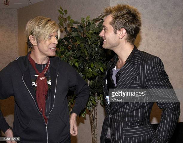 David Bowie and Jude Law during David Bowie 'Reality Tour' at Madison Square Garden Backstage at Madison Square Garden in New York City New York...