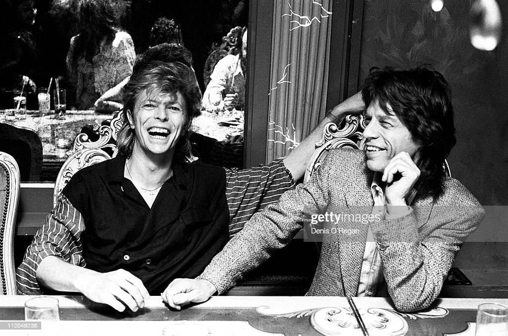 David Bowie (left) and Mick Jagger, London, 1987.