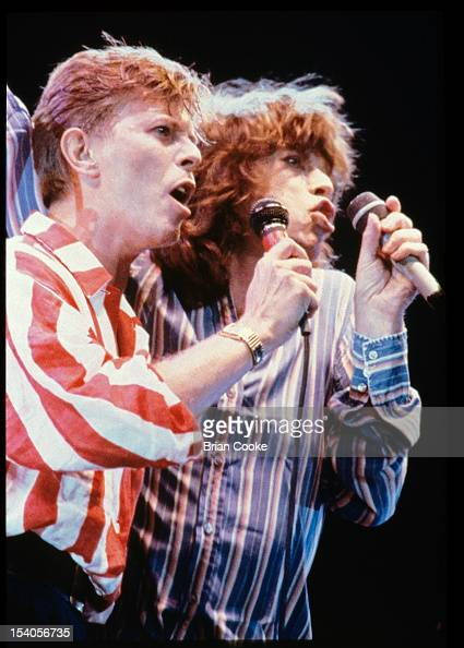 David Bowie and Mick Jagger performing on stage at The Prince's Trust 10th Birthday Party at Wembley Arena London United Kingdom on 20th June 1986