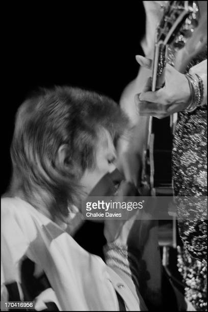 David Bowie and Mick Ronson perform on stage at Earl's Court on the first night of the last leg of the Ziggy Stardust Tour London 12th May 1973