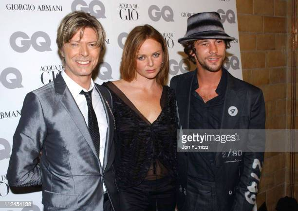 David Bowie and Stella McCartney with Jay Kay of Jamiroquai