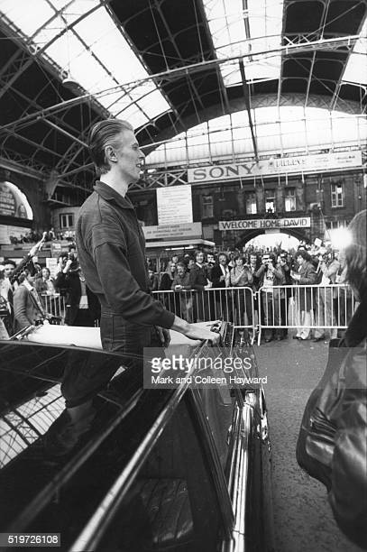 David Bowie arrives at Victoria railway station London 2nd May 1976