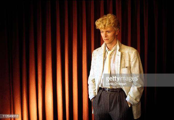 David Bowie at a modelling session at Madame Tussauds wax museum in London 1983