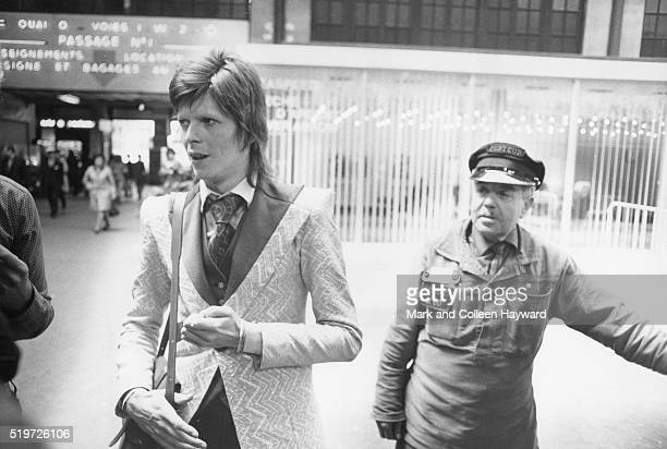 David Bowie at a station in France 1973
