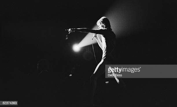 David Bowie on stage in his last concert appearance as Ziggy Stardust at the Hammersmith Odeon London 3rd July 1973