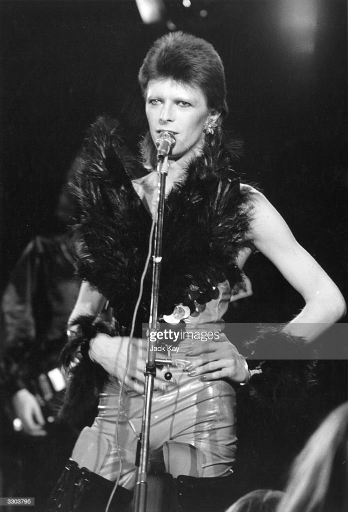 David Bowie performing at a live recording of 'The 1980 Floor Show' for the NBC 'Midnight Special' TV show at The Marquee Club in London with a...