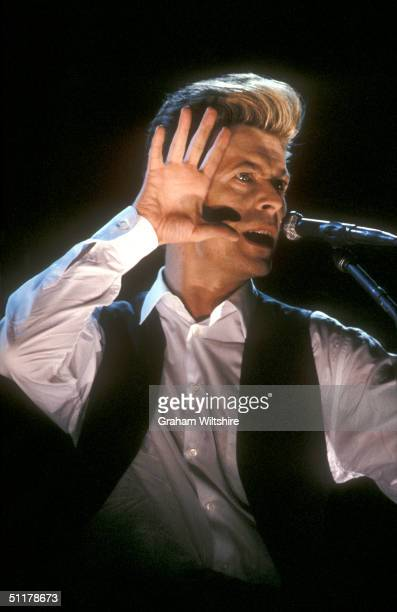 David Bowie performs at the London Docklands Arena March 1990