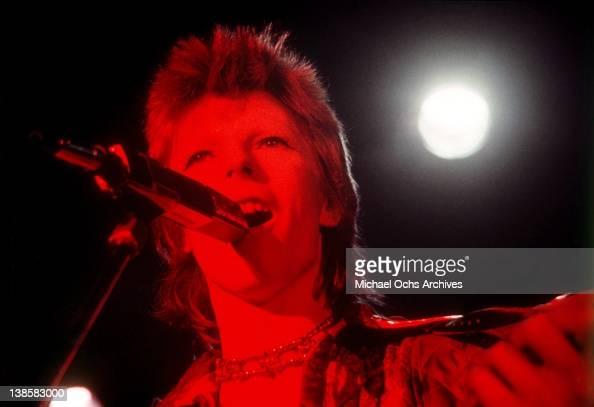 David Bowie performs at the Santa Monica Civic Auditorium on October 20 1972 in Santa Monica California
