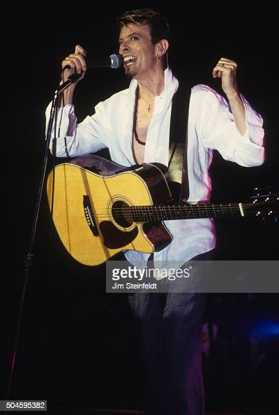 David Bowie performs during the Earthling Tour at the Universal Amphitheatre in Los Angeles California on September 12 1997