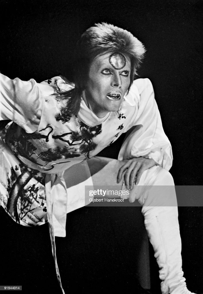 David Bowie performs live on stage at Earls Court Arena on May 12 1973 during the Ziggy Stardust tour