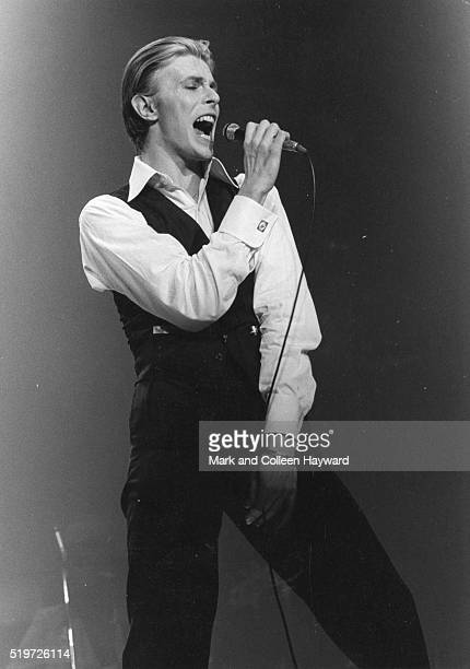 David Bowie performs on stage as the Thin White Duke on the On Stage Tour Wembley Empire Pool London May 1976