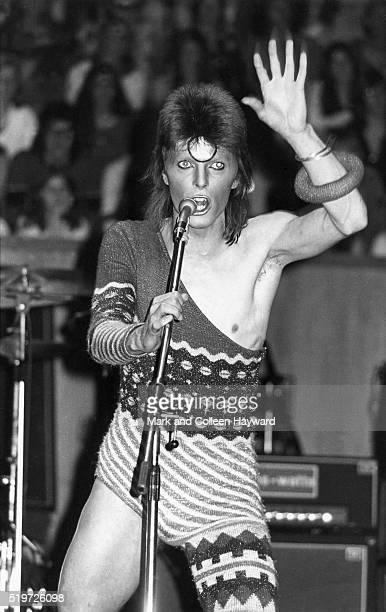 David Bowie performs on stage at Fairfield Hall Croydon on the Ziggy Stardust Tour 24th June 1973