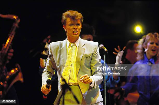 David Bowie performs on stage during the Live Aid concert at Wembley Stadium on 13 July 1985 in London England